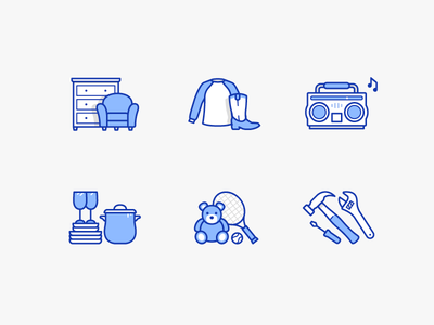 Donation categories illustration tools teddy bear toys housewares stereo clothing furniture icons