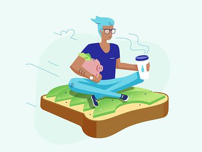Millennials - Blog post illo illustration retirement saving coffee toast avocado millennials