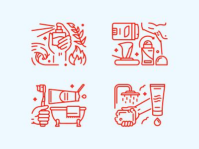 Dollar Shave Club deodorant spray cologne perfume shower bath grooming vector illustrations icons illustration