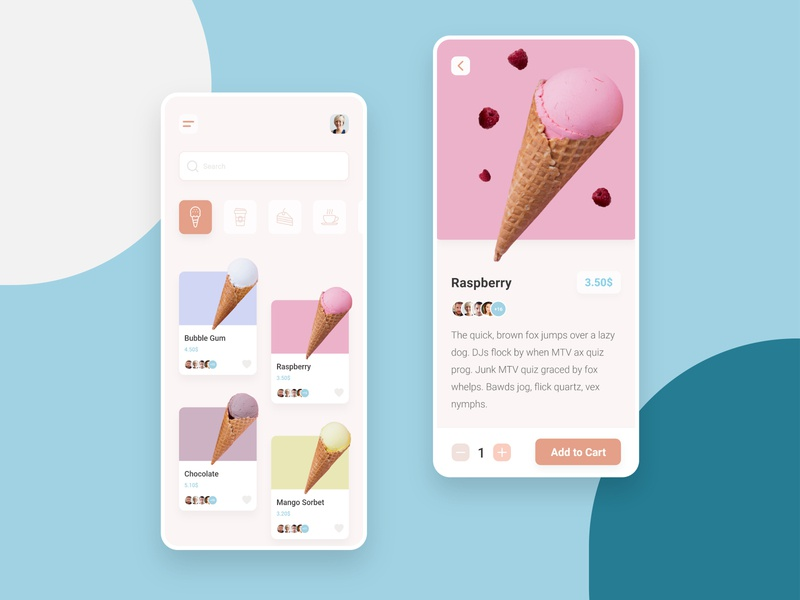Coffee shop app android app android application minimal clean ui clean elegant ice cream shop ice cream coffeeshop coffee shop branding adobe xd flat design user interface ui trend uiux ui design