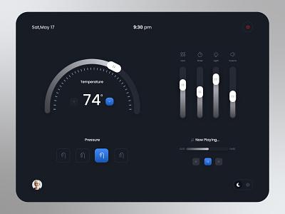 Touch Panel for Smart Shower popular shot ui trend dashboard ui smarthome dark ui dark mode dark theme dark minimal elegant clean adobe xd user interface uiux ui design