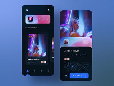 Event App Concept clean minimal mobile booking social concert mobile app ui dark ui ui design ios dark event app festival fest music event
