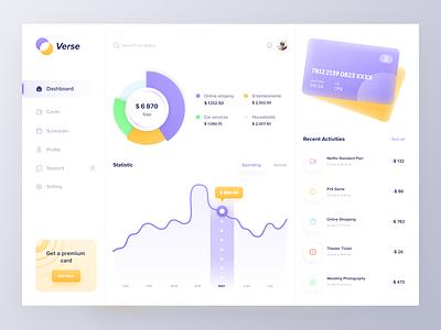 Verse - Payment Dashboard elegant platform app management website chart graph paypal credit card panel admin ux ui minimal clean financial finance dashboard payment