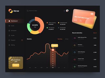 Verse - Payment Dashboard | Dark Mode elegant figma app ux minimal chart panel website credit card management wallet paypal dark mode dark theme dark financial finance payment dashboard