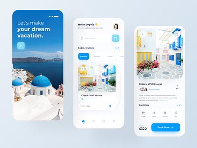 Travel App ui design trip ux mobile app app design ticket app booking app travel mobile app elegant minimal clean ui tourism app vacation tour travel