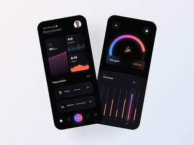 Habit Tracking App UI Design chart health application interface ux app tracking app mobile design daily uiux task management tracker minimal clean concept ui productivity activity