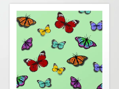 Butterly On Green design vector insects animals butterflies butterfly