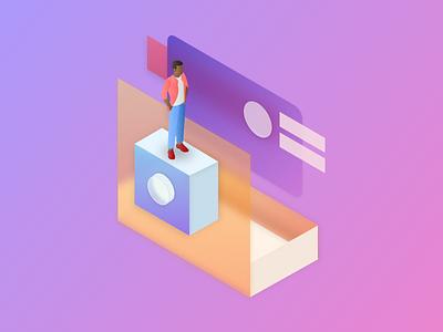 Isometric Shapes vector illustration fluent design background blur isometric sketch app