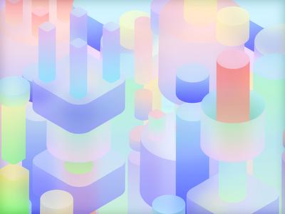 Pipes sketch app colorful gradient background blur fluent design geometric cylinder pipie