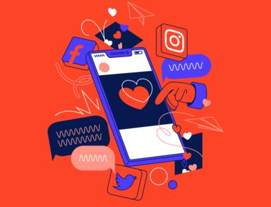 Social Media design vector twitter illustration illustrator facebook instagram social media