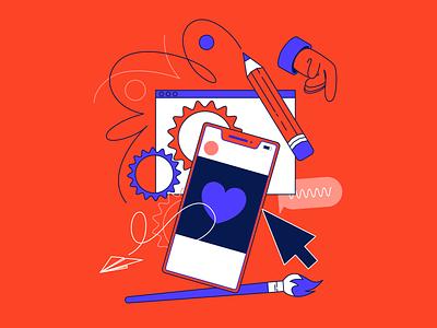 Social 04 tap art heart twitter social media instagram design illustrator facebook vector illustration
