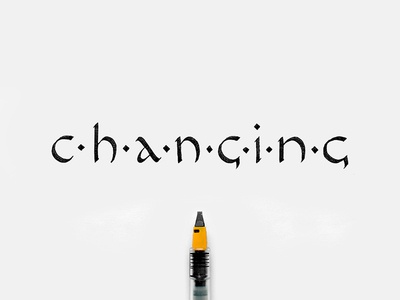 Changing lettering changing hand-writing calligraphy