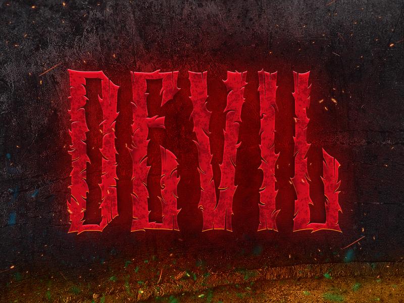 Devil devil art vector logo illustration lettering