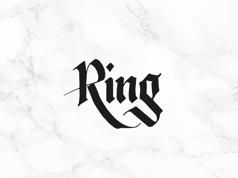 Ring hand-written hand-writing gothic letters ring calligraphy