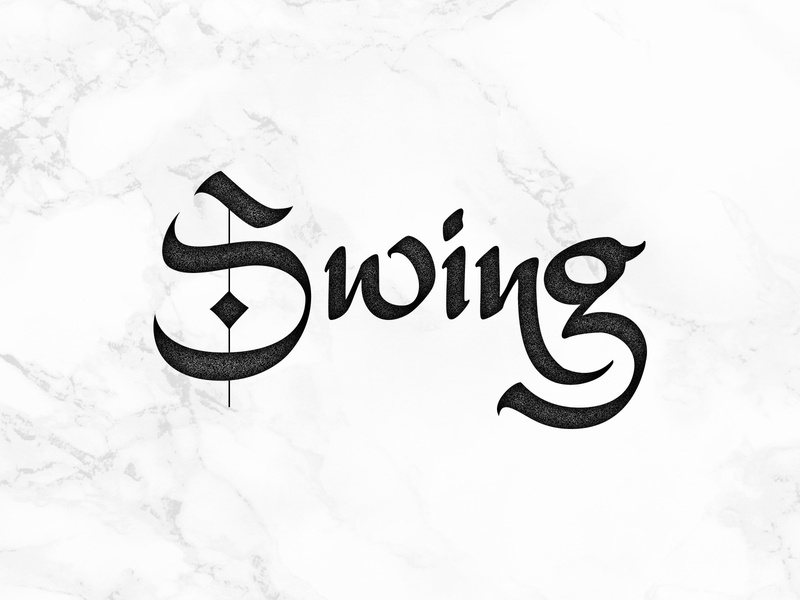 Swing gothic vector letters lettering hand-written hand-writing calligraphy