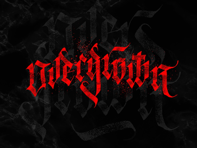 Overgrown tattoo letters logo custom gothic calligraphy