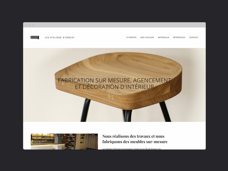 Les Ateliers d'Ernest - UI / Branding typography logo identity website ux branding