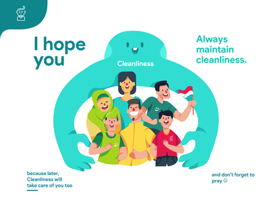 I hope you always maintain cleanliness popular trending pandemic indonesian flat  design clean cleanliness coronavirus flat illustrations illustration design