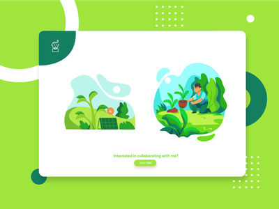 Green Virtual garden for this time flatdesign vector ux ui branding design flat illustration illustration green dribbleweeklywarmup garden
