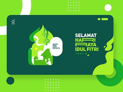 Happy Eid Mubarak 1441 H userinterface web header landingpage website web app ux branding ui illustration design coronavirus covid19 pandemic flatdesign flat illustration green moslem eidmubarak