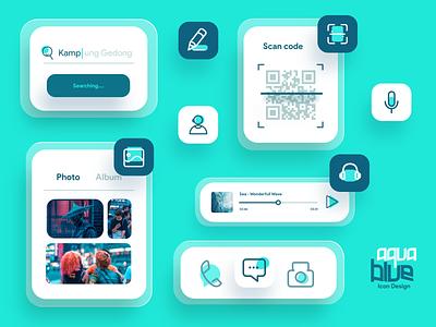 Aqua Blue Icon design with components website app aqua voice search scan qr code navigation manage logo illustrator illustration icon set icons icon game branding design chart branding