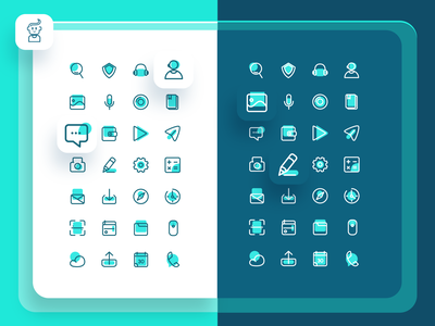 Aqua Blue icon design - Iconography apple ios android ux illustration iconography blue userinterface ui ui design webiste web settings set icon set icon branding app