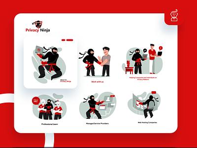 Privacy Ninja Icon set pandemic red vector flat illustration website web app ux ui branding design illustration icon design iconography icon set icon