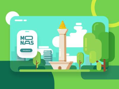 Monas : National Monument of Indonesia flat illustration flatdesign typography logo web ux app ui branding illustration design