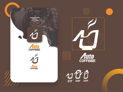 Auto coffee logo design coffeeshop coffee logotype logodesign flatdesign typography logo web app ux ui branding illustration design