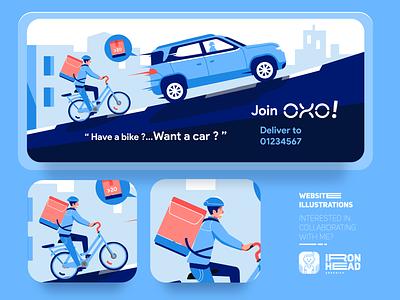 Website Illustrations : Oxo bike and car coronavirus covid19 city car bikers bike webdesign illustration art website illust flatdesign typography logo web app ux ui branding illustration design