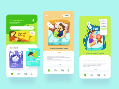 Mom and Baby app : UI design with cute Illustrations cute illustration ui design icon design icon flat illustration flatdesign typography logo app ui ux branding illustration design