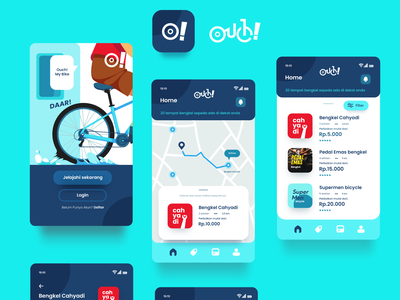 Ouch app : bike repair shop app web app cyclists bikers bicycle app bicycle typography flat illustration ux ui branding illustration design
