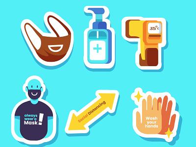 Everuday with Health protocols : Sticker design minimal illustrator vector flat illustration app ux ui branding illustration design sticker design