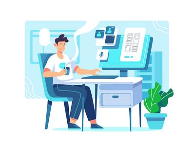 Enjoy Work from home illustrator flatdesign flat illustration app ux ui branding illustration design