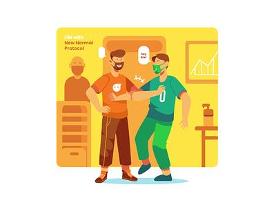Everyday life with Health Protocol illustrator animation flat flat illustration flatdesign ux ui branding illustration design