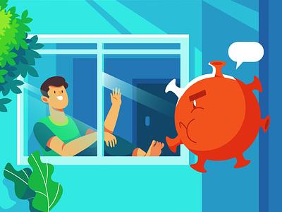 Stay home to fight coronavirus coronavirus stay safe stayhome illustrator flat illustration flatdesign web app ux ui branding illustration design
