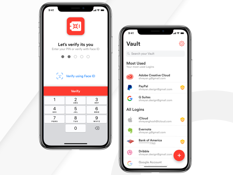 Password Manager App for iOS - Vault by Shreyan Ghosh on
