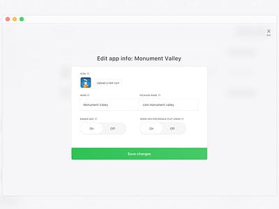 Dashboard: edit app info button field form window modal web simple panel minimal dashboard campaigns admin