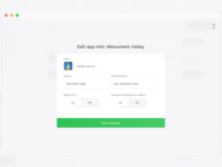Dashboard: edit app info