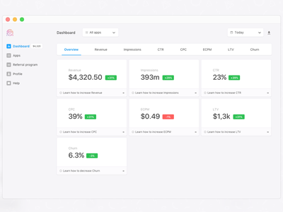 Dashboard: overview trends data grid web simple panel minimal list dashboard campaigns analytics admin
