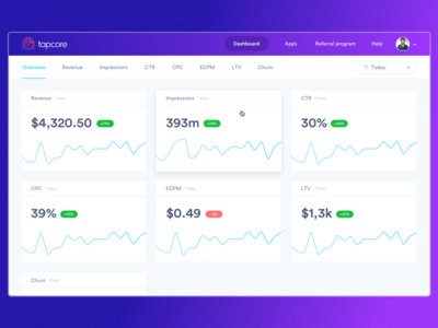 Dashboard: overview v.2 web simple panel minimal list dashboard gradient campaigns analytics admin