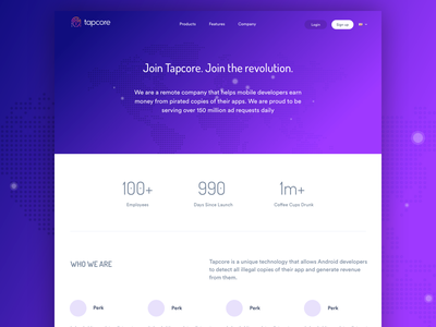 Tapcore About typography work jobs layout minimal simple company about