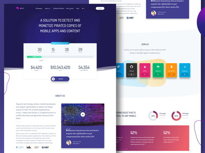 ICO Landing Page gradient blockchain cryptocurrency bitcoin fun colorful ico dark web ui page landing