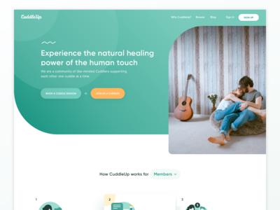 CuddleUp.com redesign — landing page
