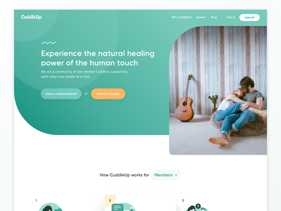 CuddleUp.com redesign — landing page home page illustration gradient landing page medical therapist therapy website clean ux web simple minimal ui
