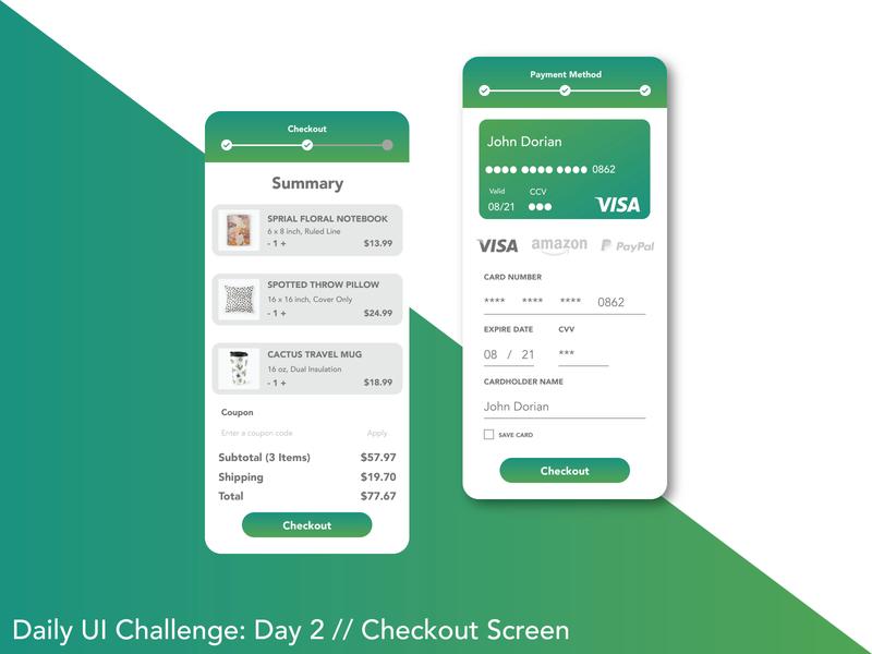 Credit Card Checkout: Daily UI 02 uxdesign uxuidesign userinterface uxui uiux uiinspiration uidesigner uidesign ui graphicdesign dailyui adobexd