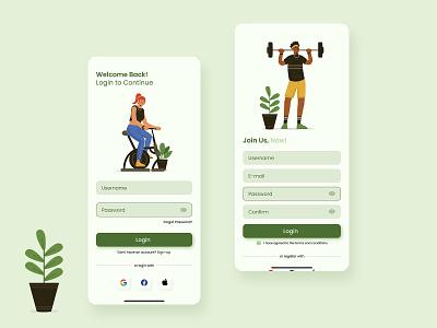 Gym Mobile Apps - Login & Sign Up Page gym food health sign up login ui design mobile app ui ux uiux uidesign design illustration