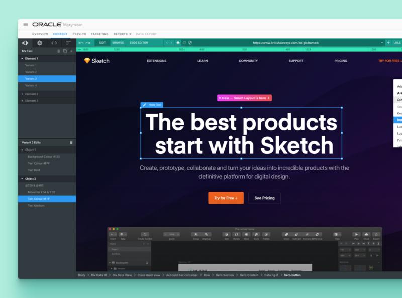 Oracle Maxymiser campaign designer ux software design web ui interface app