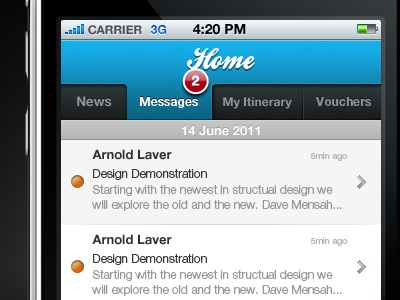 Home Messages ui app iphone design interface