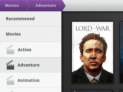 Movies menu ui app android design interface tablet